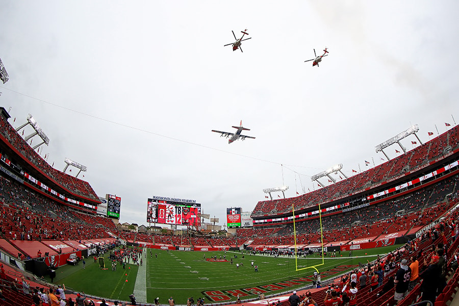 Raymond James Stadium in Tampa will be the site of Super Bowl LV, which will allow 22,000 fans into the game. (Photo by Mike Ehrmann/Getty Images)
