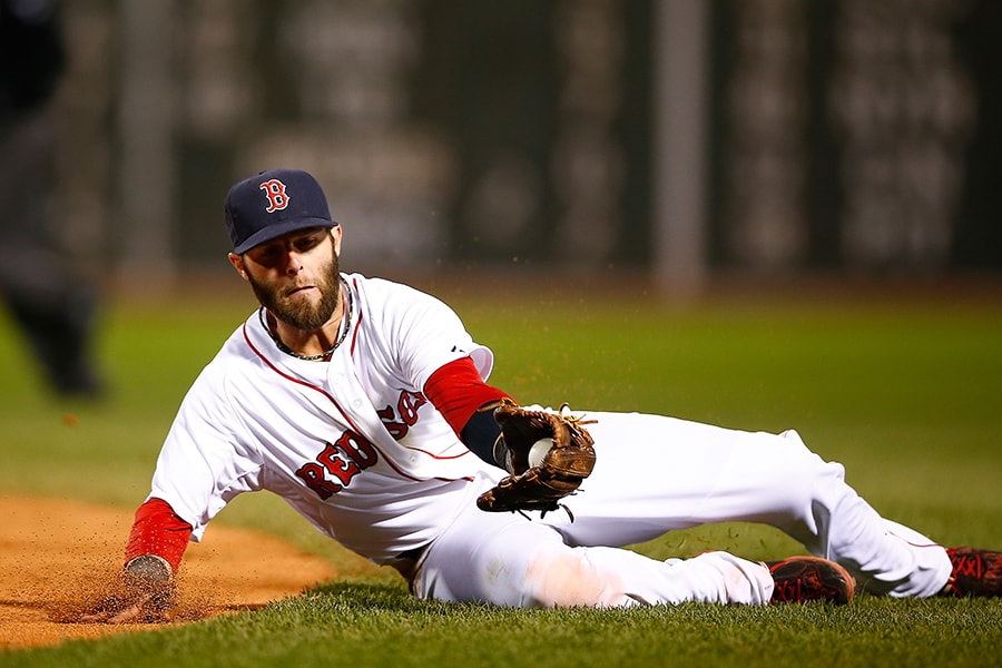 Dustin Pedroia fields a groundball against the New York Yankees at Fenway Park. (Jared Wickerham/Getty Images)