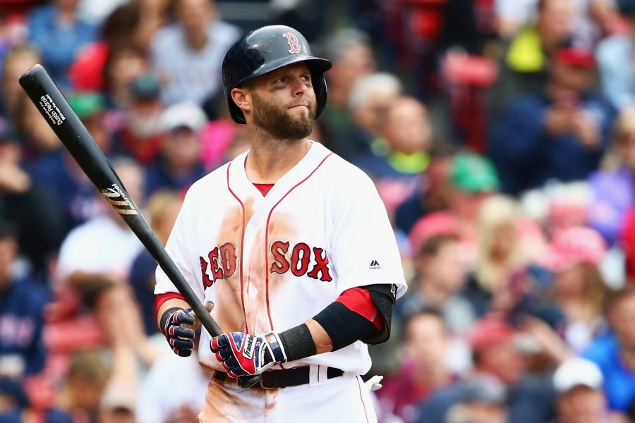 BOSTON, MA - JULY 10: Dustin Pedroia #15 of the Boston Red Sox reacts after striking out against the Tampa Bay Rays during the seventh inning at Fenway Park on July 10, 2016 in Boston, Massachusetts. (Photo by Maddie Meyer/Getty Images)