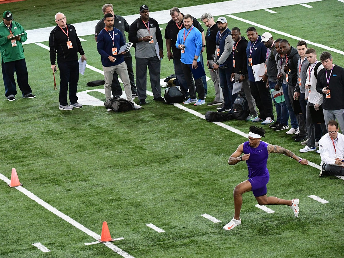 Wide receiver Diondre Overton runs the three-cone drill during Clemson's 2020 Pro Day. (Clemson/NFL)