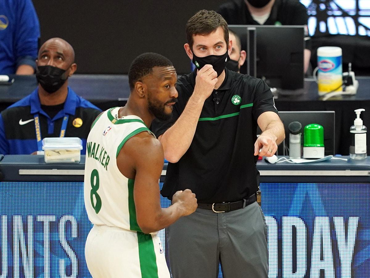 Feb 2, 2021; San Francisco, California: Boston Celtics head coach Brad Stevens talks to guard Kemba Walker (8) during the fourth quarter against the Golden State Warriors at Chase Center. (Darren Yamashita-USA TODAY Sports)