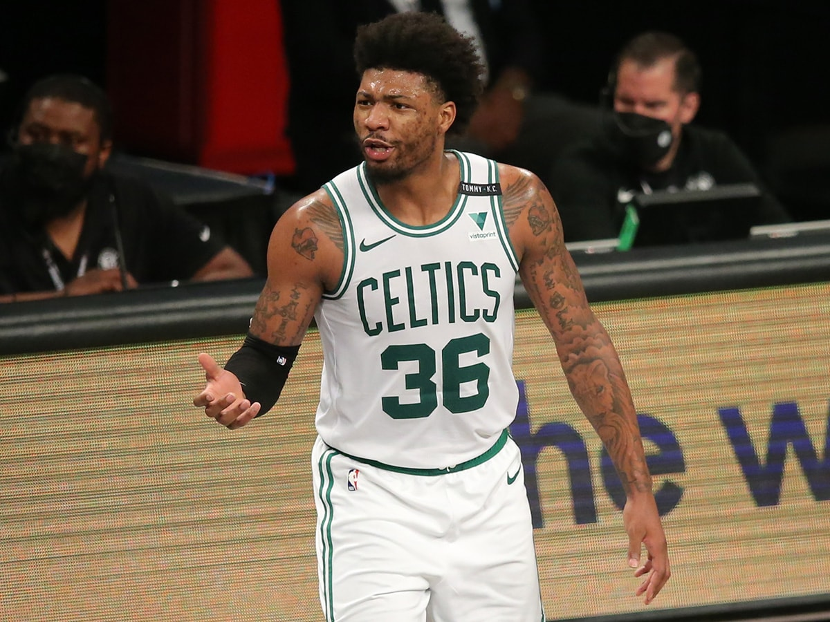 Jun 1, 2021; Brooklyn, New York, USA; Boston Celtics point guard Marcus Smart (36) reacts after being called for a foul during the second quarter of game five of the first round of the 2021 NBA Playoffs against the Brooklyn Nets at Barclays Center. Mandatory Credit: Brad Penner-USA TODAY Sports