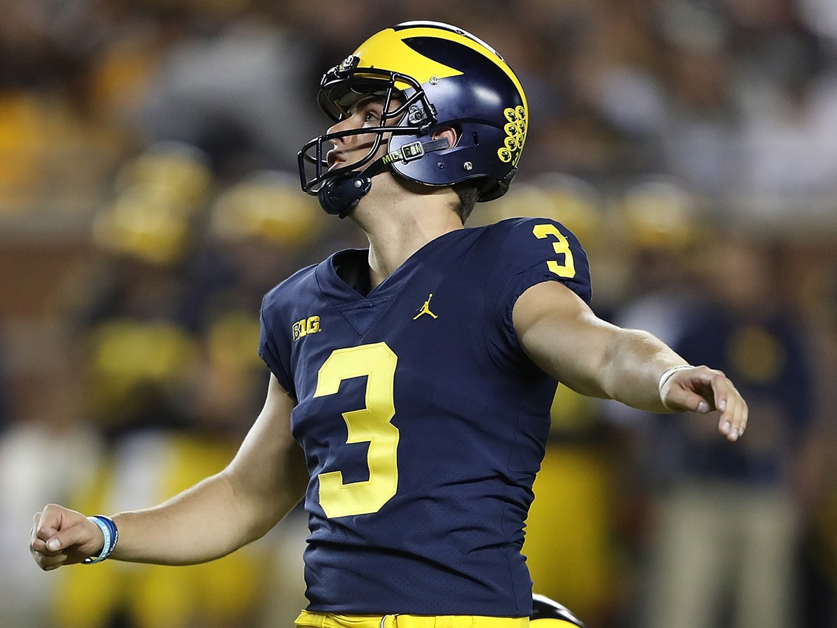 ANN ARBOR, MI - OCTOBER 07: Quinn Nordin #3 of the Michigan Wolverines kicks a first quarter field goal during the game against Michigan State Spartans at Michigan Stadium on October 7, 2017 in Ann Arbor, Michigan. (Photo by Leon Halip/Getty Images)