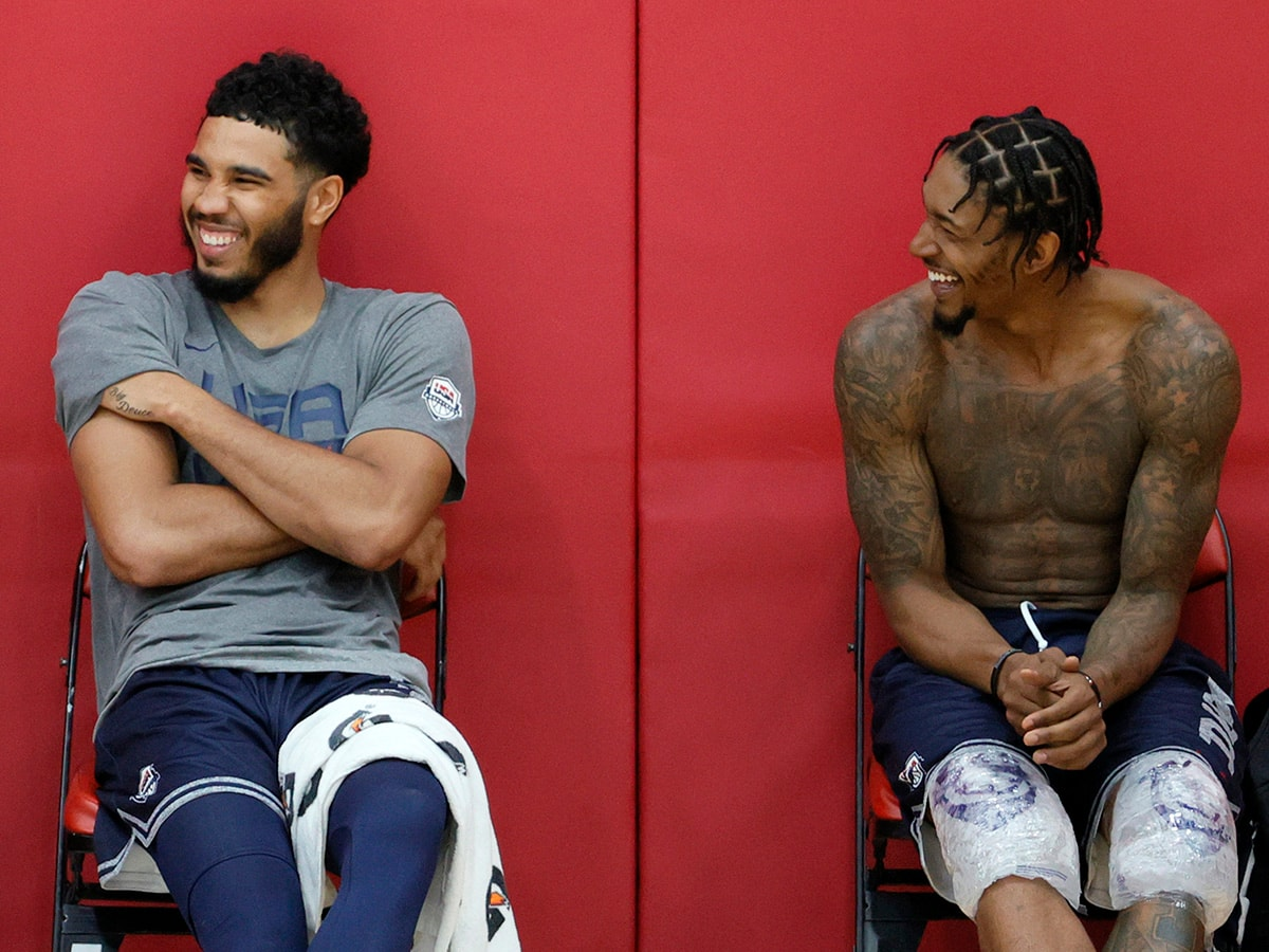LAS VEGAS, NEVADA - JULY 07: Jayson Tatum (L) #10 and Bradley Beal #4 of the 2021 USA Basketball Men's National Team laugh after a practice at the Mendenhall Center at UNLV as the team gets ready for the Tokyo Olympics on July 7, 2021 in Las Vegas, Nevada. (Photo by Ethan Miller/Getty Images)