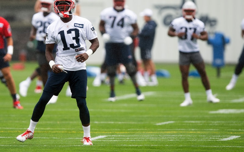 FOXBOROUGH, MA - JULY 28, 2021: Nelson Agholor # 13 of the New England Patriots warms up during training camp at Gillette Stadium on July 28, 2021 in Foxborough, Massachusetts.  (Photo by Kathryn Riley / Getty Images)