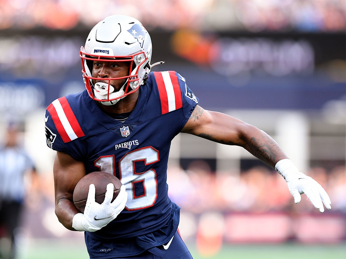 Sep 12, 2021; Foxborough, Massachusetts, USA; New England Patriots wide receiver Jakobi Meyers (16) runs with the ball against the Miami Dolphins during the first half at Gillette Stadium. Mandatory Credit: Brian Fluharty-USA TODAY Sports