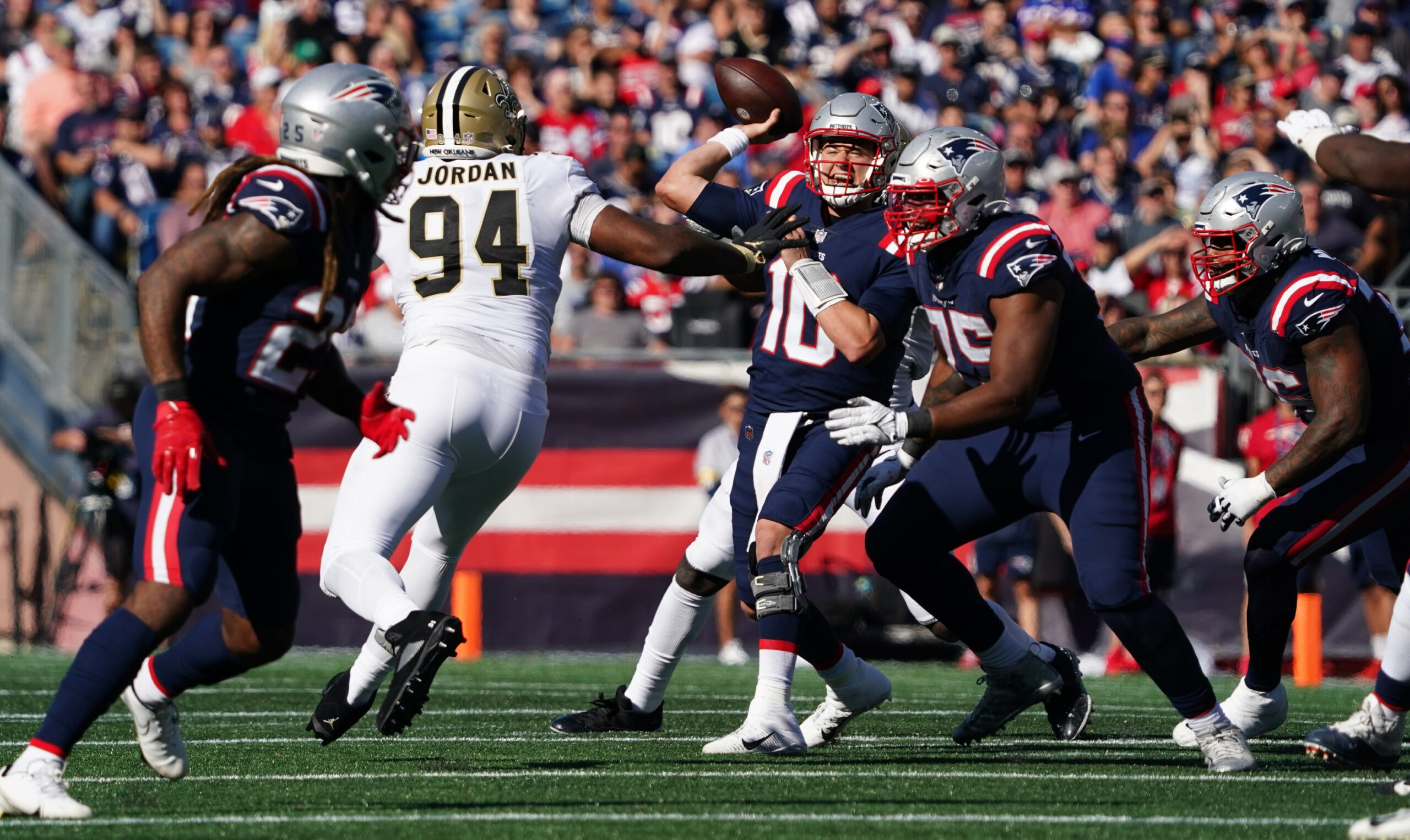 Sep 26, 2021; Foxborough, Massachusetts, USA; New England Patriots quarterback Mac Jones (10) throws a pass against the New Orleans Saints during the second half at Gillette Stadium. Mandatory Credit: David Butler II-USA TODAY Sports