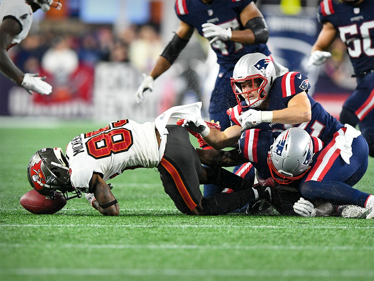 Oct 3, 2021; Foxboro, MA, USA; Tampa Bay Buccaneers wide receiver Jaydon Mickens (85) fumbles the ball on a punt during the second half against the New England Patriots at Gillette Stadium. The fumble call is reversed because of penalty on New England. Mandatory Credit: Brian Fluharty-USA TODAY Sports